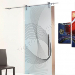 Porta scorrevole ad un anta in vetro satinato con decoro-CF - Roma - VetroeXpert - Porte in vetro su misura e Pareti divisorie