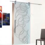 Porta scorrevole ad un anta in vetro satinato con decoro-DF - Roma - VetroeXpert - Porte in vetro su misura e Pareti divisorie