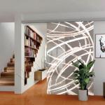 Porta scorrevole ad un anta in vetro satinato con decoro-DN - Roma - VetroeXpert - Porte in vetro su misura e Pareti divisorie