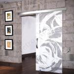 Porta scorrevole ad un anta in vetro satinato con decoro_EO_BIANCO - Roma - VetroeXpert - Porte in vetro su misura e Pareti divisorie