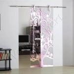 Porta scorrevole ad un anta in vetro trasparente con decoro-FC - Roma - VetroeXpert - Porte in vetro su misura e Pareti divisorie