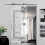 Porta scorrevole ad un anta in vetro trasparente con decoro-FG - Roma - VetroeXpert - Porte in vetro su misura e Pareti divisorie