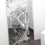 Porta scorrevole ad un anta in vetro trasparente con decoro-FU - Roma - VetroeXpert - Porte in vetro su misura e Pareti divisorie