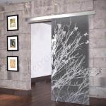 Porta scorrevole anta in vetro satinato con decoro-Di-fondo nero - Roma - VetroeXpert - Porte in vetro su misura e Pareti divisorie