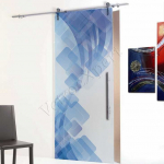 Porta scorrevole in vetro satinato decoro HB - Roma - VetroeXpert - Porte in vetro su misura e Pareti divisorie