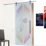 Porta scorrevole in vetro satinato decoro HC - Roma - VetroeXpert - Porte in vetro su misura e Pareti divisorie