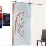 Porta scorrevole in vetro satinato decoro HD - Roma - VetroeXpert - Porte in vetro su misura e Pareti divisorie
