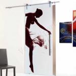 Porta scorrevole in vetro satinato decoro HO - Roma - VetroeXpert - Porte in vetro su misura e Pareti divisorie