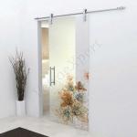 Porta scorrevole in vetro trasparente decoro HF - Roma - VetroeXpert - Porte in vetro su misura e Pareti divisorie