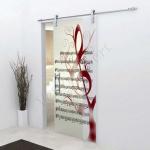 Porta scorrevole in vetro trasparente decoro HH - Roma - VetroeXpert - Porte in vetro su misura e Pareti divisorie