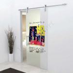 Porta scorrevole in vetro trasparente decoro HN - Roma - VetroeXpert - Porte in vetro su misura e Pareti divisorie