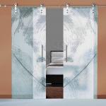 Porte a doppia anta scorrevoli in vetro con decoro-AF - Roma - VetroeXpert - Porte in vetro su misura e Pareti divisorie