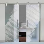 Porte a doppia anta scorrevoli in vetro con decoro-AL - Roma - VetroeXpert - Porte in vetro su misura e Pareti divisorie