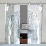 Porte a doppia anta scorrevoli in vetro con decoro-AM - Roma - VetroeXpert - Porte in vetro su misura e Pareti divisorie