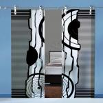 Porte a doppia anta scorrevoli in vetro con decoro-BQ - Roma - VetroeXpert - Porte in vetro su misura e Pareti divisorie