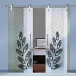 Porte a doppia anta scorrevoli in vetro con decoro-BZ - Roma - VetroeXpert - Porte in vetro su misura e Pareti divisorie