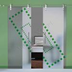Porte a doppia anta scorrevoli in vetro con decoro_El - Roma - VetroeXpert - Porte in vetro su misura e Pareti divisorie