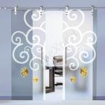 Porte a doppia anta scorrevoli in vetro con decoro_FB - Roma - VetroeXpert - Porte in vetro su misura e Pareti divisorie