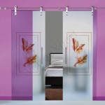Porte a doppia anta scorrevoli in vetro con decoro_FF - Roma - VetroeXpert - Porte in vetro su misura e Pareti divisorie