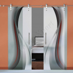 Porte scorrevoli in vetro con decoro-BF - Roma - VetroeXpert - Porte in vetro su misura e Pareti divisorie