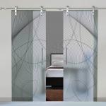 Porte scorrevoli in vetro con decoro-Bi - Roma - VetroeXpert - Porte in vetro su misura e Pareti divisorie