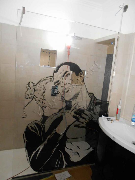 box doccia in vetro con serigrafia roma